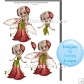 Fushia Fairy Princess Decoupage Sheet