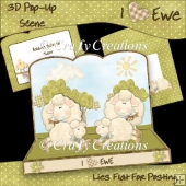 3D Pop-Up Scene - I Luv Ewe