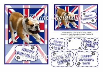 English Bulldog - Union Jack - Outer My Way Card Toppers