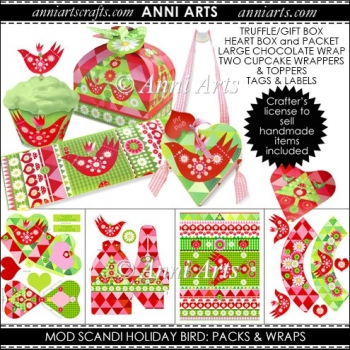 MOD SCANDI HOLIDAY BIRD PACKS and WRAPS