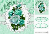 turq vintage roses on lace with bow 8x8