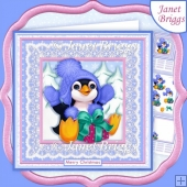 PENGUIN GIFT Christmas 8x8 Decoupage & Insert Kit