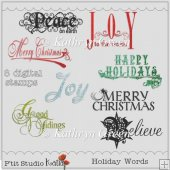CU Holiday Words Digital Stamps