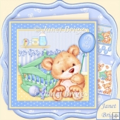 New Baby Boy Bear & Cradle 8x8 Decoupage Mini Kit