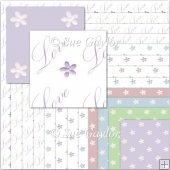 'Love' Dainty Flowers Backing Papers
