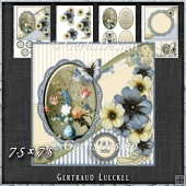 Vintage Shabby Flower Card Kit Blue 1440