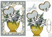 Lovely vase of silver roses with hearts and bow A5