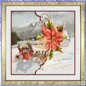 Christmas at Moonlight 7x7 card with decoupage