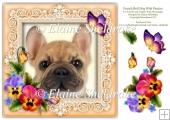 French Bull Dog Pansies Butterfly 8 x 8 Card Topper & Decoupage