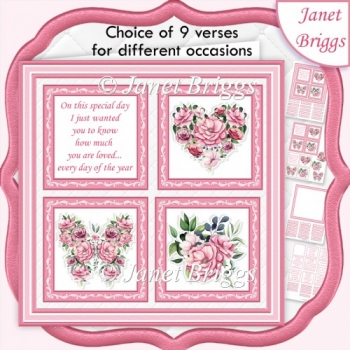 PINK FLORAL SQUARES 7.5 Quick Layer Card & Insert Kit