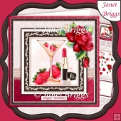 CHAMPAGNE & STRAWBERRIES 8x8 Decoupage & Insert Kit All Occasion