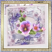 Summer pansy 7x7 approx card with decoupage