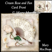 Cream Rose and Fan Card Front