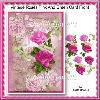 Vintage Roses Pink And Green Card Front