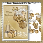 Golden Baubles And Gifts Card Front