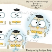 Square Card Twit Twoo Graduation/Pass Exams BOY(Retiring in July