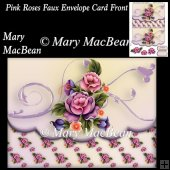 Pink Roses Faux Envelope Card Front