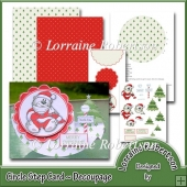 Santa Bear ~ Circle Side Step with Decoupage