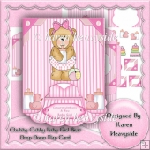 Chubby Cubby Baby Girl Bear Drop Down Flap Card