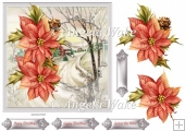 Snow covered road is a 7x7 card with poinsettias to decoupage