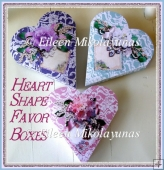 Cottage Chic Rose Cluster Heart Shape Valentine Favor Boxes