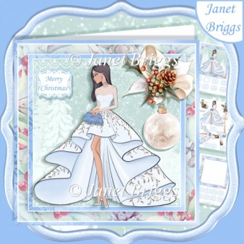 CHRISTMAS LADY IN ICE BLUE EVENING DRESS 7.5 Decoupage & Insert