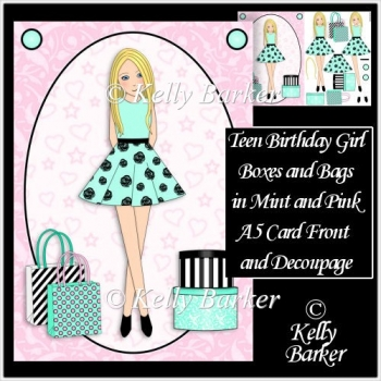 Teen Girl Blonde Boxes & Bags in Mint & Pink A5 Decoupage