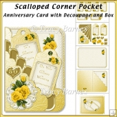 Scalloped Corner Pocket Golden Anniversary with Decoupage & Box