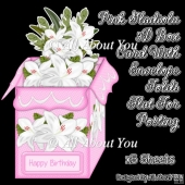 Pink Gladiolus 3D Box Card & Envelope Kit