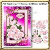Pink Rose Bouquet In Rose And Gold Frame Card Front