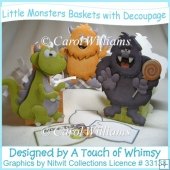 Little Monsters Baskets with Decoupage