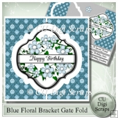 Blue Floral Interlocking Bracket Gatefold
