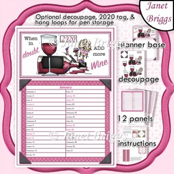 2020 Daily Planner ADD MORE WINE Decoupage Kit