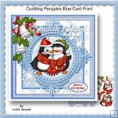 Cuddling Penguins Blue Card Front