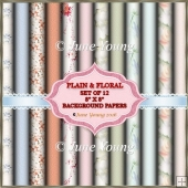 "12 8"" x 8"" Floral and Plain Bacground Papers"