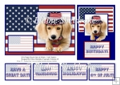 American Puppy Dog & United States Of America Flag - Card Topper