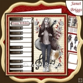 FEMALE MUSICIAN 7.5 Decoupage & Insert Kit
