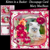 Kitten in a Basket - Decoupage Card