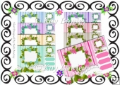 8 Lovely coloured flowers frames with stripes & lace 8x8