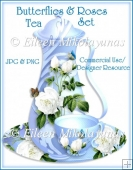 Butterflies and Roses Tea Set Clip Art BOTH JPG & PNG Formats