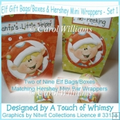 Elf Gift Bags/Boxes & Hershey Mini Wrappers - Set 1