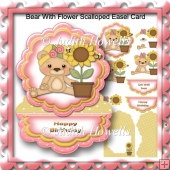 Bear With Flower Scalloped Easel Card