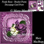 Purple Roses - Bracket Frame Decoupage Card Front