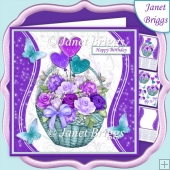 PURPLE ROSE BASKET 7.5 Decoupage & Insert Mini Kit All Occasions