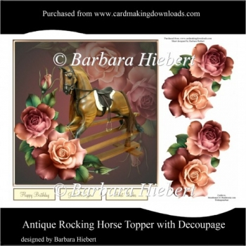 Antique Rocking Horse Topper with Decoupage