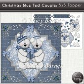 Christmas Blue Ted Couple Topper