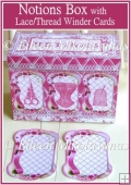 Cottage Chic NOTIONS Organizer Box with Lace/Thread Keepers Kit