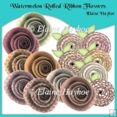 Watermelon Rolled Ribbon Flowers
