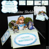 Alice & The Cheshire Cat - 3D Box Card Kit & Matching Envelope