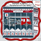 FIRE ENGINE 7.5 Alphabet and Age Quick Card Kit Create Any Name